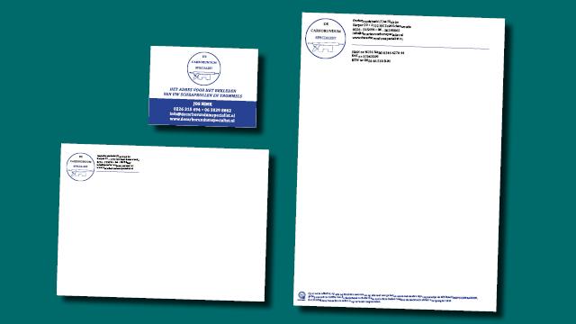 briefpapier, envelop en advertentie De Carborundum Specialist vormgeving en opmaak GonBa grafische vormgeving