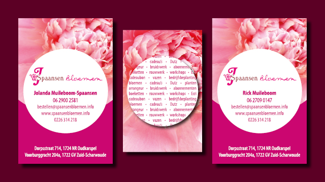 visitekaartjes Spaansen Bloemen vormgeving en opmaak GonBa grafische vormgeving