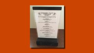 menukaartje en standaard voor Gouden Tulp, TV Tulp, vormgeving en opmaak GonBa vormgeving