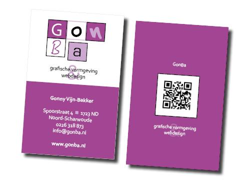 visitekaartje van GonBa grafische vormgeving en websites webdesign