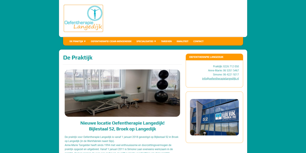 GonBa website Oefentherapie Langedijk