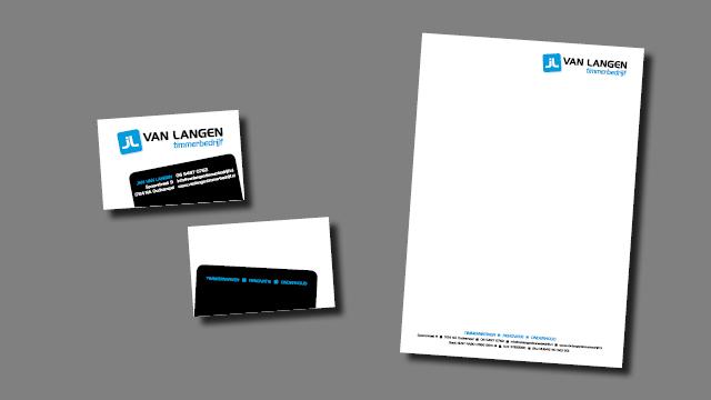 GonBa visitekaartje en briefpapier Van Langen Timmerbedrijf