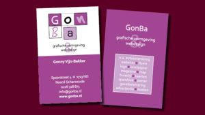 GonBa vormgeving visitekaartje
