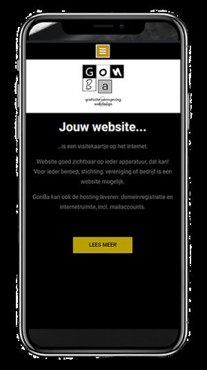 afbeelding hoe een website eruit ziet op een smartphone, website gemaakt door GonBa
